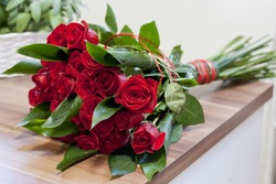 Luxury bouquet made of red roses in flower shop Valentines Bouquet of red roses