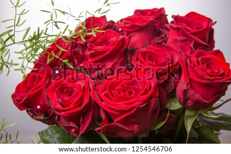 Luxury bouquet made of red roses in flower shop Valentines Bouquet of red roses. Birthday, Mother's, Valentines, Women's, Wedding Day concept #1254546706
