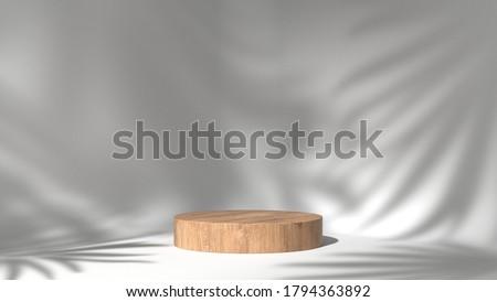 luxury brown fine wood box, block, cylinder podium cube shadow leaves in white marble background. concept scene stage showcase, product, promotion sale, wooden, presentation, cosmetic. 3D render