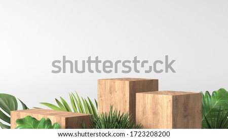 luxury brown fine wood box, block, square podium cube green leaves in white marble background. concept scene stage showcase, product, perfume, promotion sale, wooden, presentation, cosmetic. 3D render