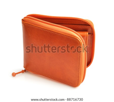luxury brown leather wallet isolated on white