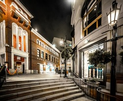Luxury buildings in Rodeo Drive at night, California