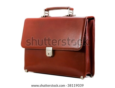 Luxury business brown brief-case isolated on a pure white background