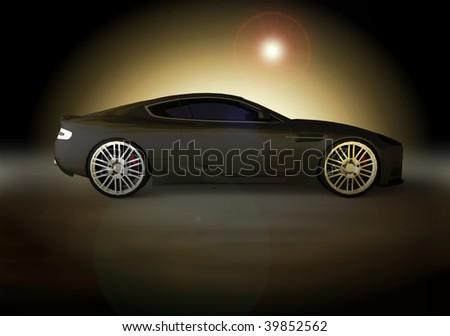 luxury business sports car / sportscar at sunset / sunrise