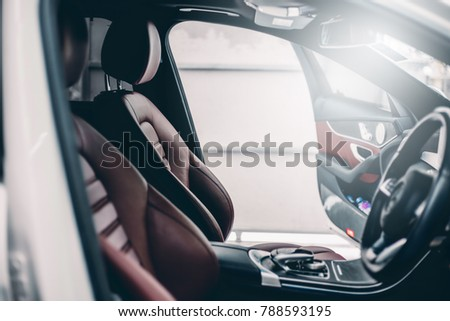 Luxury Car interior.Leather seats in the car.selective focus. #788593195