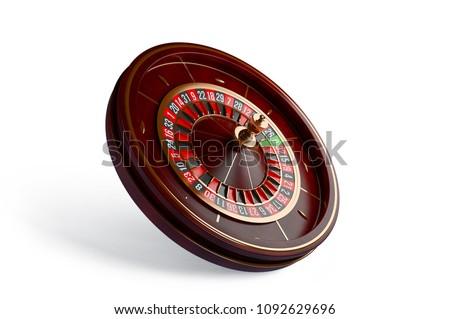 Luxury Casino roulette wheel isolated on white background. Wooden Casino roulette 3d rendering illustration.