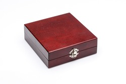 Luxury cherry wood gift box on a white background