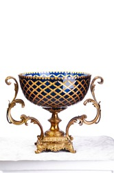 luxury classic antique vase glass gold and blue white background