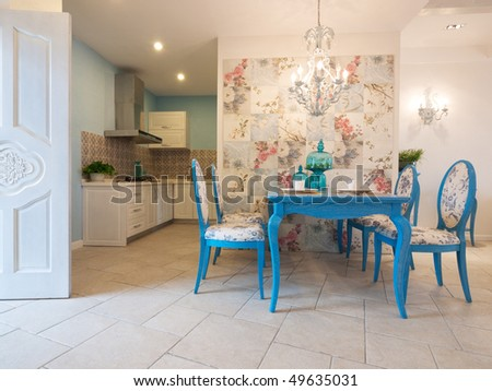 luxury classic dining room with beautiful pattern on wall tile