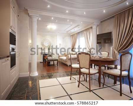 Luxury Classic Interior Of Dining Room Kitchen And Living With Furniture Crystal