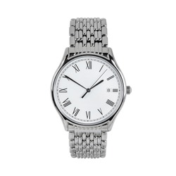Luxury classic watch with a white dial and Roman numerals and a calendar and steel strap, front view isolated on white background