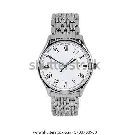 Luxury classic watch with a white dial and Roman numerals and a calendar and steel strap, front view isolated on white background Сток-фото ©
