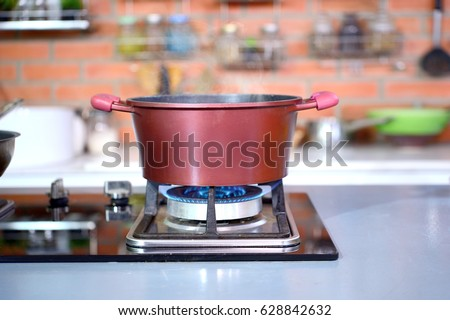 luxury clean modern kitchen in a modern home closeup a pot with boiling water and frying pan set on gas stove.