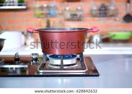 luxury clean modern kitchen in...
