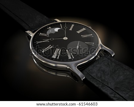 Luxury clock over black - stock photo