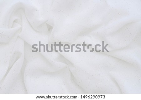 Luxury cloth texture with white fabric of silk for backdrop, wedding background. Seamless pattern of satin cotton. #1496290973