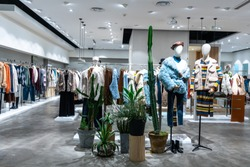 luxury clothes store in shopping mall