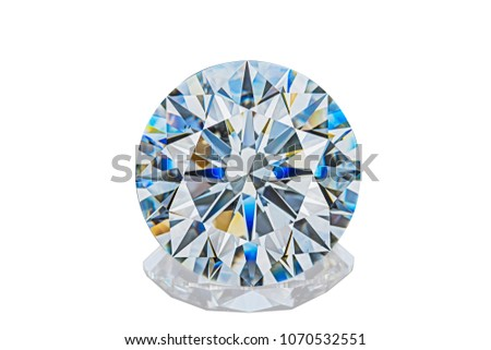 Luxury colorless transparent sparkling gemstone round shape cut diamond  isolated on white background.