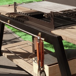 luxury Combo Empty Grill Table. Outdoor Backyard Kitchen Table With BBQ Charcoal Grill Appliance. Family Garden Party Barbecue Grill, Closeup View, Green Backyard Lawn In The Background.