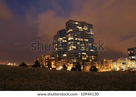 Luxury Condominium Tower at Night