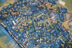 Luxury countryside rural village aerial view from above in St Andrews Scotland UK