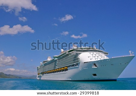 luxury cruise liner in caribbean port