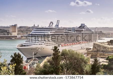 Luxury cruise ship anchored at the port of Valletta, Malta