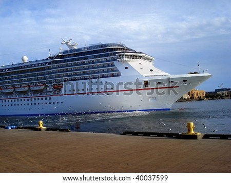 Luxury Cruise Ship Docking In Tampa Bay In Florida Stock