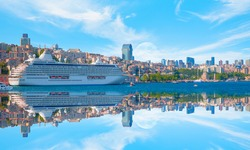Luxury cruise ship in Bosporus with full moon - Istanbul, Turkey