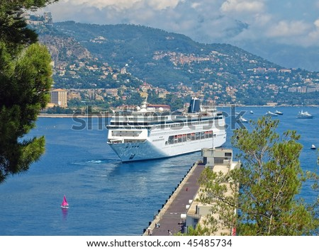 Luxury cruise ship in sea port of Monte-Carlo, Monaco.