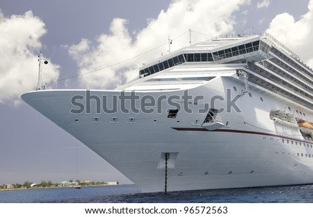 Luxury Cruise Ship in the Anchored in the Caribbean Sea near the Cayman Islands