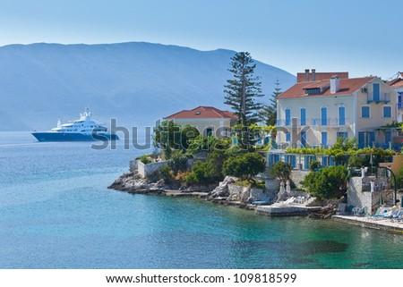 Luxury cruise ship moored of Fiskardo on Kefalonia