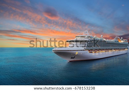 Luxury cruise ship sailing to port on sunrise  #678153238
