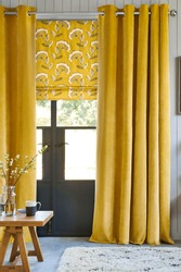 Luxury curtain with a copy-space in the room interior. Living room in luxury home with window.