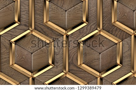 Luxury 3D tiles made of solid precious wood elements and gold metal decor elements. High quality seamless realistic pattern.