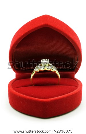 Luxury Diamond Wedding Ring in Red Velvet Silk Box using for Engagement for Love in Valentine Holiday Concept