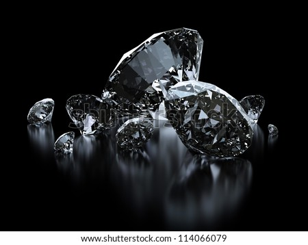 Luxury diamonds on black backgrounds - clipping path included - stock photo
