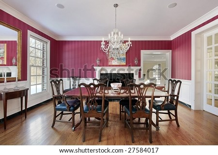 Luxury Dining Room With Red Walls Stock Photo 27584017