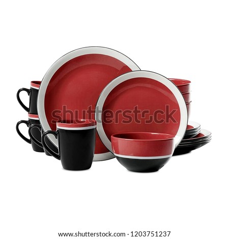 luxury dinner set. antique dishware set isolated on white background, red and black cookware set