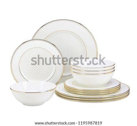 luxury dinner set. antique dishware set isolated on white background, white and ivory cookware set