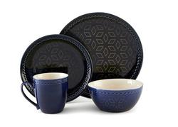 Luxury dinner set, Cookware set on white background, Black dishware set, Ceramic teacup set