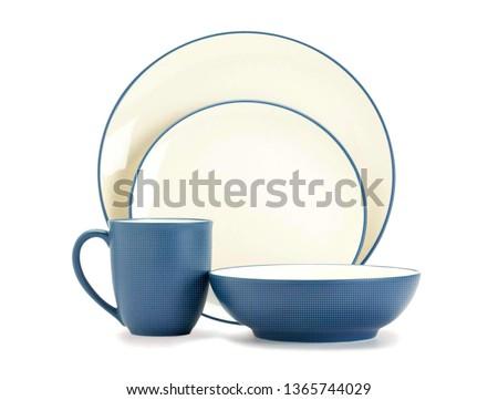 Luxury dinner set, Cookware set on white background, Blue dishware set, Ceramic teacup set