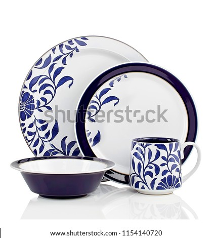 luxury dinner set, high resolution image, cookware set with flower pattern  #1154140720