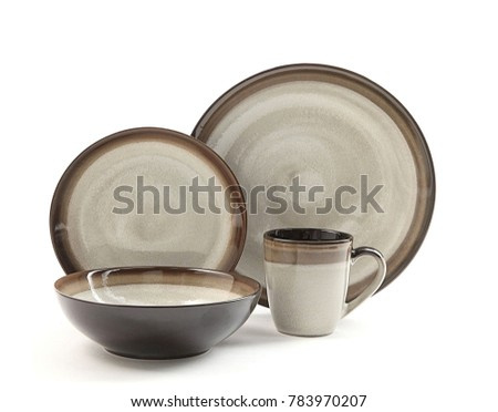 Luxury Dishware set,mug and dish on white background,teacup with bowl #783970207