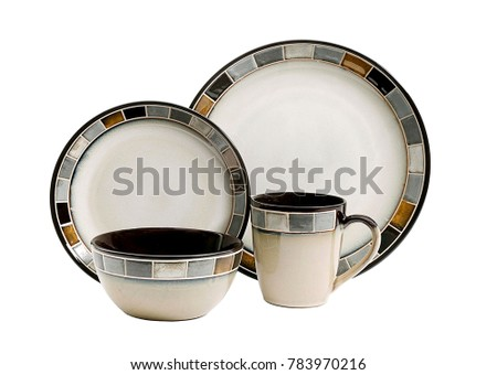 Luxury Dishware set,mug and dish on white background,teacup with bowl #783970216