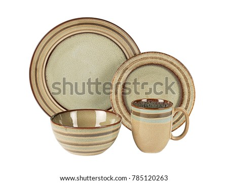 Luxury Dishware set,mug and dish on white background,teacup with bowl #785120263