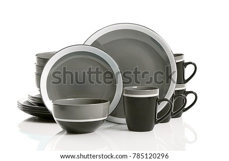 Luxury Dishware set,mug and dish on white background,teacup with bowl #785120296