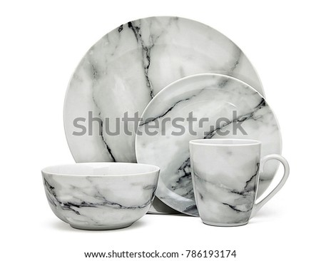 Luxury Dishware set,mug and dish on white background,teacup with bowl #786193174