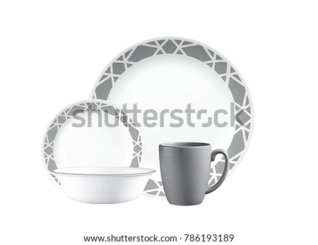 Luxury Dishware set,mug and dish on white background,teacup with bowl #786193189