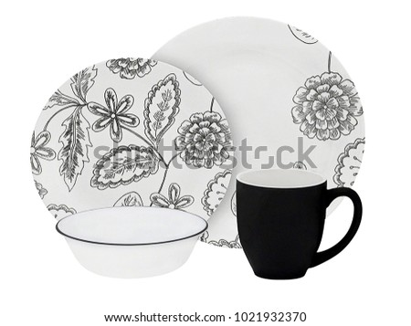 Luxury Dishware Set On White Background,Plate And Mug,Black Teacup #1021932370
